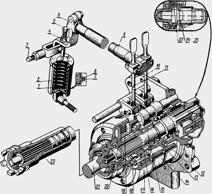 Рычаг переключения ВОМ (вала отбора мощности) трактора МТЗ.
